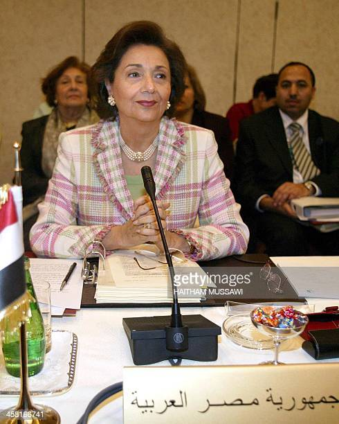 Egyptian first lady Suzanne Mubarak attends the opening session of the conference of Arab women on war 08 March 2004 in Beirut, marking International...