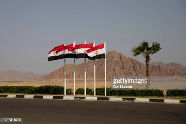 Egyptian flags fly during the first Arab-European Summit on February 25, 2019 in Sharm El Sheikh, Egypt. Leaders from European and Arab nations are...