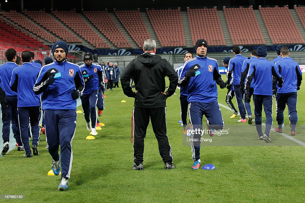 Egyptian football club team Al Ahly during the training session at Toyota Stadium on December 8, 2012 in Toyota, Japan.