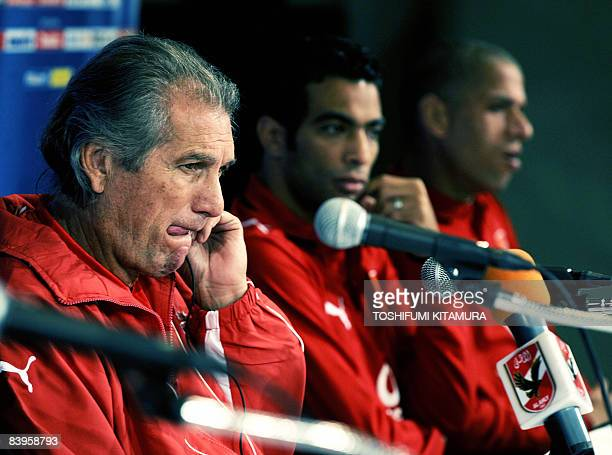 Egyptian football club team Al Ahly's Portugese head coach Manuel Jose listens to a question during his team's press conference with captain Shady...