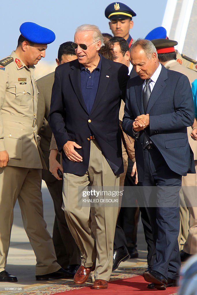 Egyptian Foreign Minister Ahmed Aboul Gheit (R) receives U.S. Vice President Joe Biden at Sharm El-Sheikh Airport on June 6, 2010, for a meeting with President Hosni Mubarak on the first leg of an African tour.