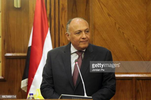 Egyptian foreign minister Sameh Shokri attends a joint press conference with Jordan's foreign minister Ayman Al Safadi and Palestinian lead...