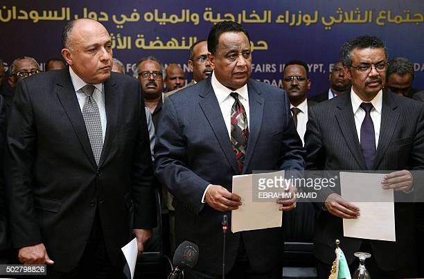 Egyptian Foreign Minister Sameh Shoukri Sudanese Foreign Minister Ibrahim Ghandour and Ethiopian Foreign Minister Tedros Adhanom pose for a group...