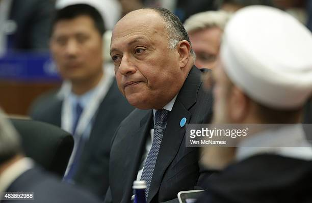 Egyptian Foreign Minister Sameh Shoukry addresses the White House Summit on Countering Violent Extremism February 19, 2015 in Washington, DC. The...