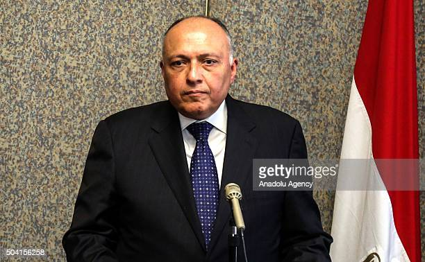 Egyptian Foreign Minister Sameh Shoukry and Foreign Minister of Sudan Ibrahim Ghandour hold a joint press conference after their meeting about water...