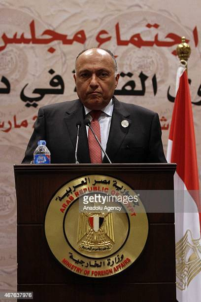 Egyptian Foreign Minister Sameh Shoukry and Secretary-General of the Arab League Nabil Elaraby attend a press conference during the Arab Foreign...