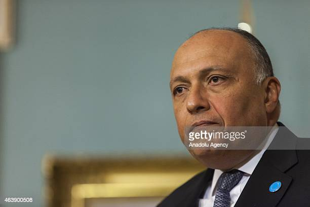 Egyptian Foreign Minister Sameh Shoukry and US Secretary of State John Kerry speak to members of the media at the State Department in Washington, USA...