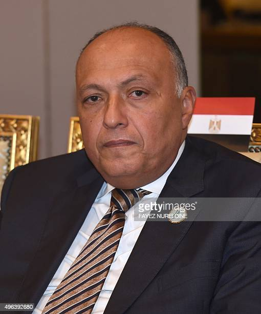 Egyptian Foreign Minister Sameh Shoukry attends an extraordinary meeting of foreign ministers of the Arab League, on November 9, 2015 in the Saudi...