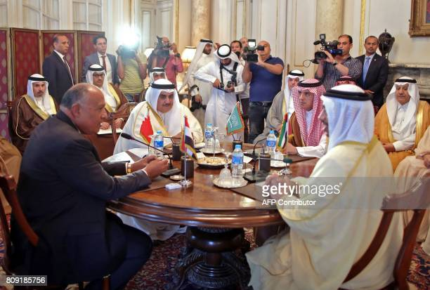 Egyptian Foreign Minister Sameh Shoukry Bahraini Foreign Minister Khalid bin Ahmed alKhalifa Saudi Foreign Minister Adel alJubeir and UAE Minister of...