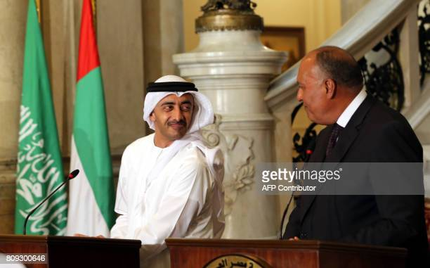 Egyptian Foreign Minister Sameh Shoukry looks at UAE Foreign Minister Abdullah bin Zayed alNahyan during a joint press conference with their Saudi...