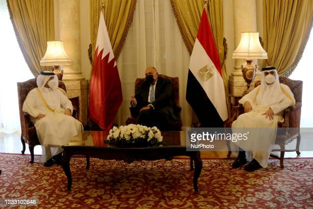 Egyptian Foreign Minister Sameh Shoukry meets with Qatar's Deputy Prime Minister and Minister of Foreign Affairs Mohammed bin Abdulrahman bin Jassim...