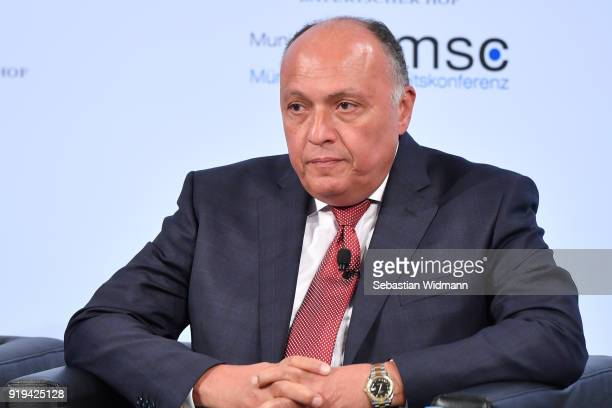 Egyptian Foreign Minister Sameh Shoukry participates in a panel talk at the 2018 Munich Security Conference on February 17, 2018 in Munich, Germany....