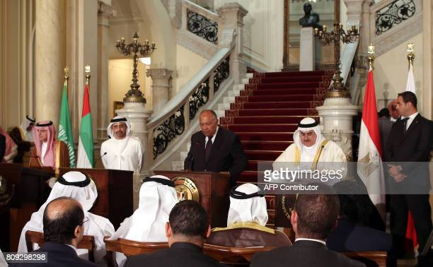 Egyptian Foreign Minister Sameh Shoukry reads a statement while giving a joint press conference with Saudi Foreign Minister Adel alJubeir UAE...