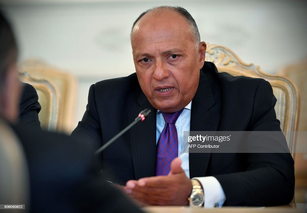 Egyptian Foreign Minister Sameh Shoukry speaks during a meeting with his Russian counterpart in Moscow on August 21, 2017. / AFP PHOTO / Alexander NEMENOV