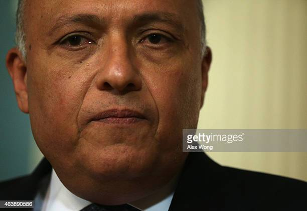 Egyptian Foreign Minister Sameh Shoukry speaks to members of the media prior to a meeting with U.S. Secretary of State John Kerry February 19, 2015...