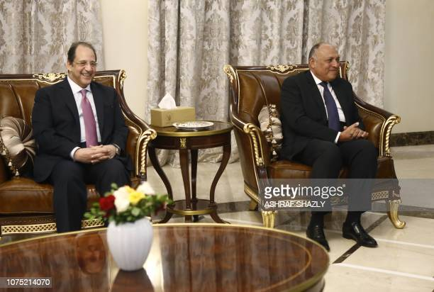 Egyptian Foreign Minister Sameh Shukri and Egyptian intelligence chief Abbas Kamel meet with the Sudanese President in the capital Khartoum on...