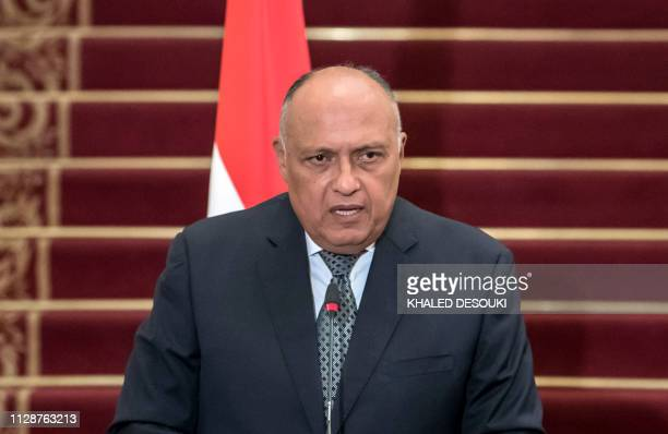 Egyptian Foreign Minister Sameh Shukri speaks during a joint press conference with his Algerian and Tunisian counterparts at Tahrir Palace in the...
