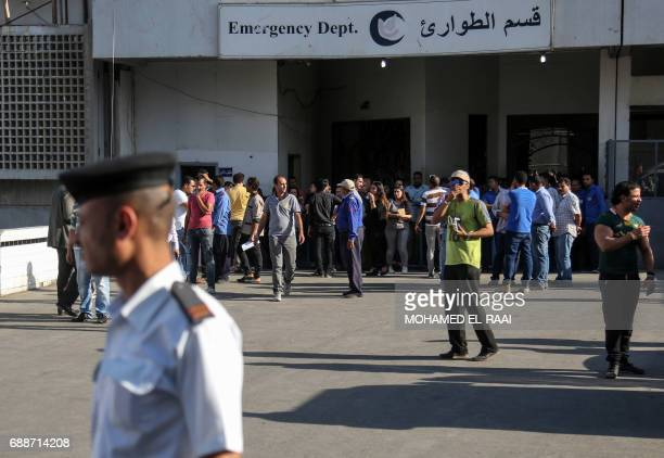 Egyptian gather outside a hospital in Cairo's northern suburb of Shubra on May 26 following an attack in which 28 Coptic pilgirms were gunned down...