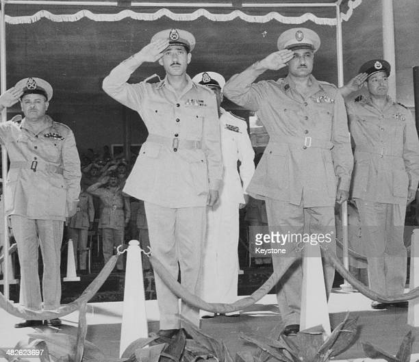 Egyptian General Abdel Hakim Amer salutes during a parade to celebrate the evacuation of British troops in Cairo Egypt June 23rd 1956