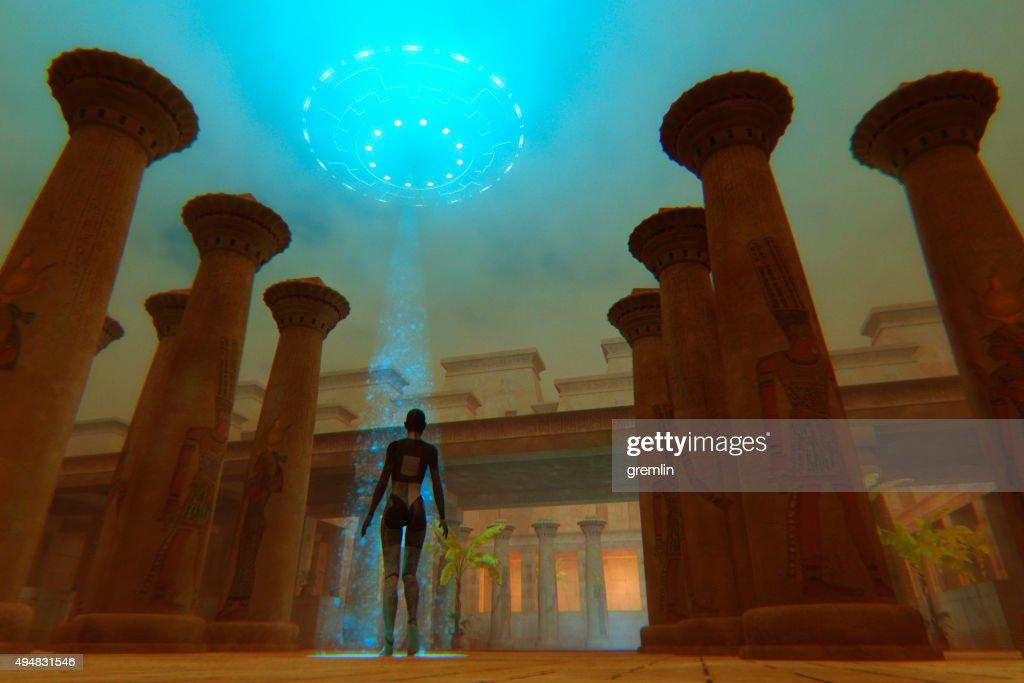 صورة تخيلية لأحد رواد الفضاء القدماء في أحد المعابد المصرية
