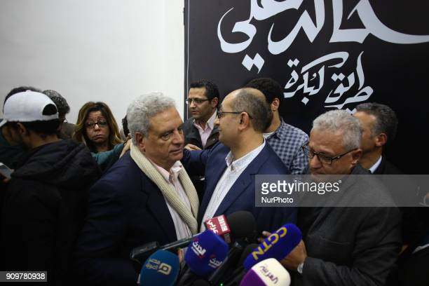 Egyptian human rights lawyer Khaled Ali in his press conference in Cairo Egypt 24 January 2018 Former Presidential candidate and human rights lawyer...