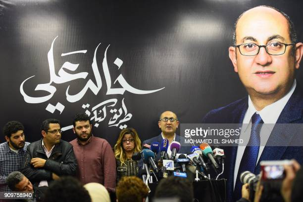 Egyptian human rights lawyer Khaled Ali speaks during a press conference in Cairo on January 24 2018 Ali said he is quitting the race to become...