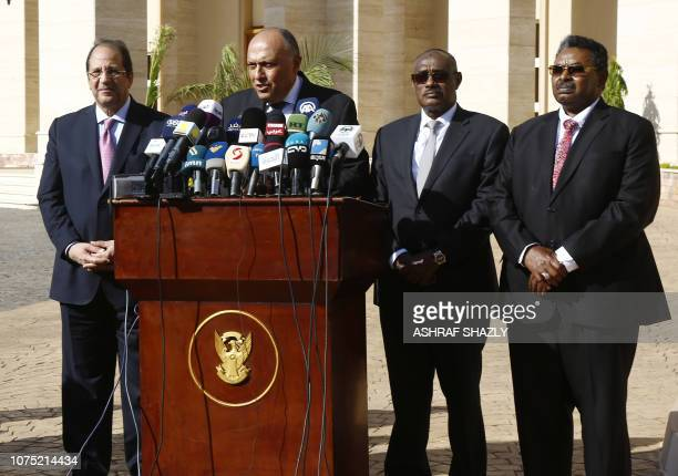 Egyptian intelligence chief Abbas Kamel Egyptian Foreign Minister Sameh Shukri Sudanese Foreign Minister AlDierdiry Ahmed and Sudanese National...