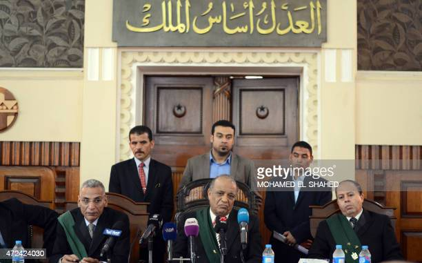 Egyptian Judge Anwar alJabri leads a hearing on May 7 2015 at the Court of Cassation to examine a prosecution appeal against a lower court's ruling...