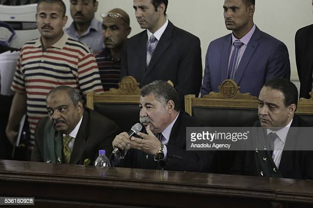 Egyptian judge Hassan Farid conducts the trials of Muslim Brotherhood members at the Police Academy in the capital Cairo Egypt on May 31 2016