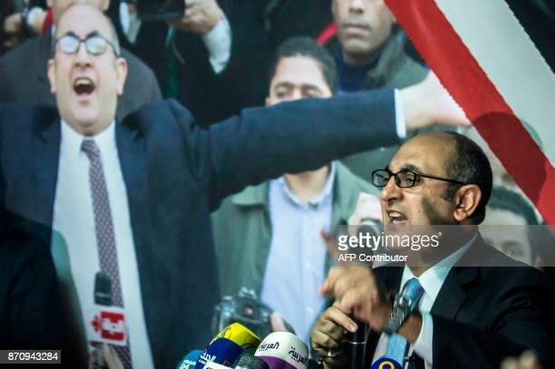 Egyptian lawyer and rights activist Khaled Ali announces his candidacy for Egypts 2018 presidential election during a press conference in Cairo on...