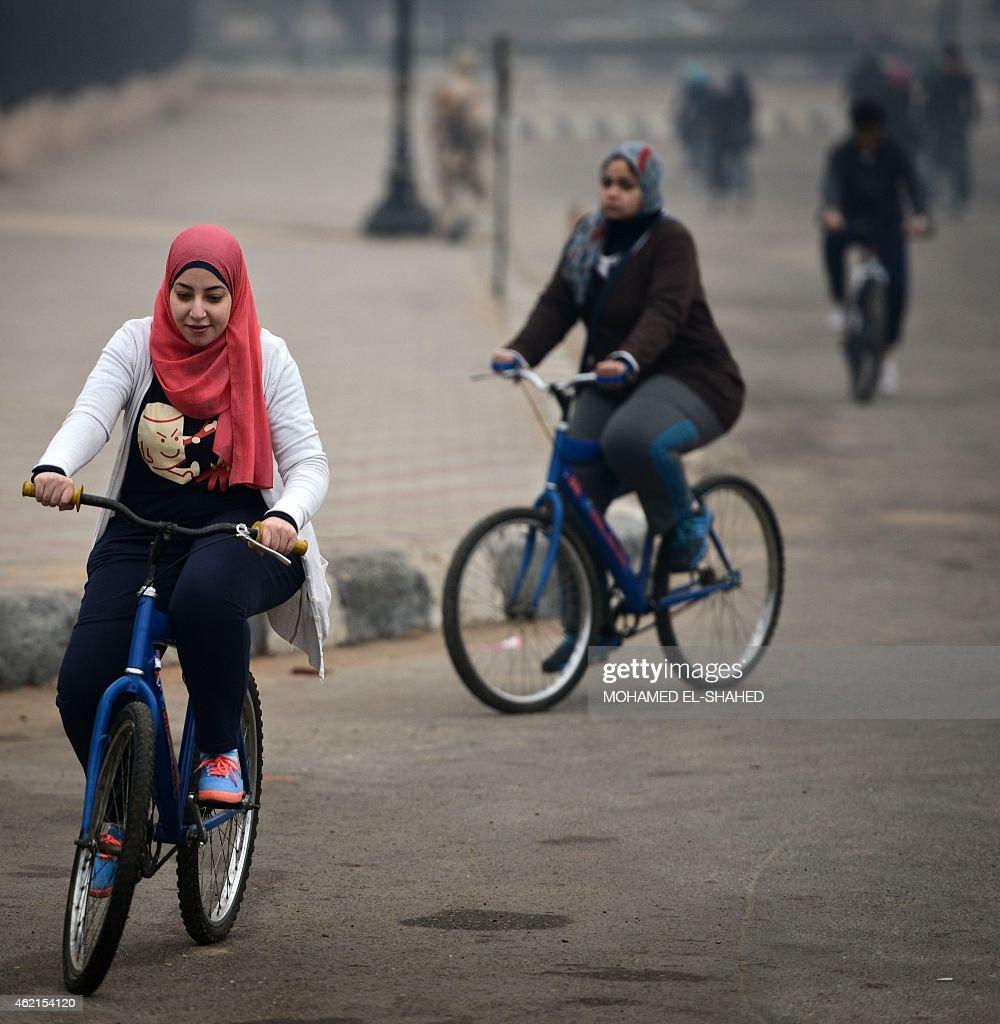 EGYPT-WOMEN-CYCLING-LIFESTYLE : News Photo
