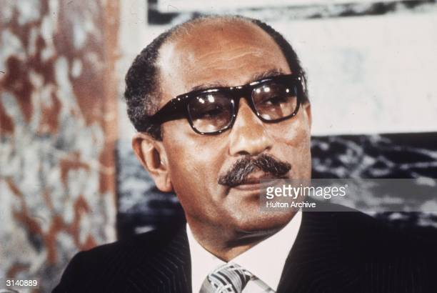 Egyptian military leader and President Anwar alSadat at a press conference in Paris