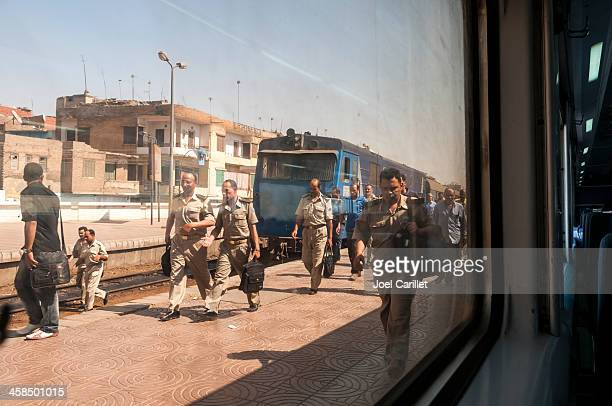 Egyptian military officers disembarking train in Benha, Egypt