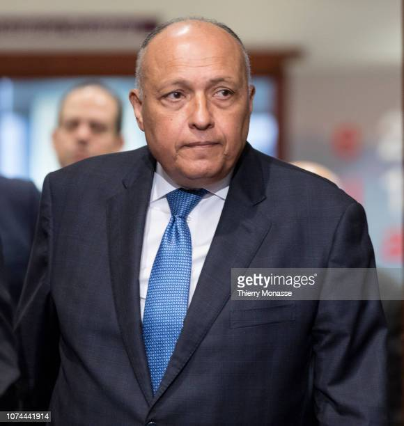 Egyptian Minister for foreign affairs Sameh Shoukry arrives for an EU Egypt Association council on December 20, 2018 in Brussels, Belgium.