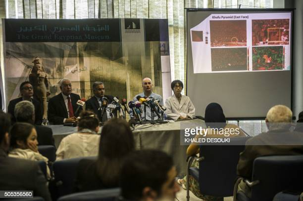 Egyptian minister of antiques Mamdouh Damati and Mahdi Tiopi director of Heritage Preservation and Innovation Center in Parisattend a joint press...