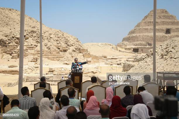 Egyptian Minister of Antiquities Khaled ElAnani speaks during a press conference to announce the discovery of an ancient Egyptian tomb at the Saqqara...