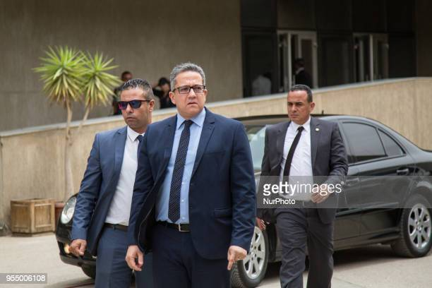 Egyptian Minister of Antiquities Khaled ElAnany a ceremony for the transportation of Tutankhamun's chariot from the Military Museum to the Grand...