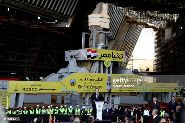 Egyptian Minister of Antiquities Khaled El-Anany speaks during a press conference after the transferring of the colossus of Pharaoh King Ramses to...