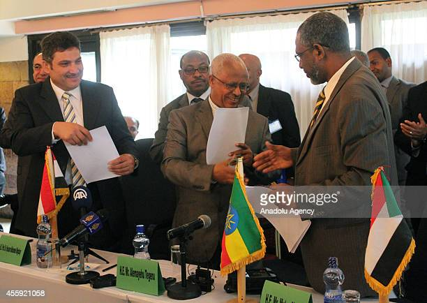 Egyptian Minister of Water Resources and Irrigation, Hossam Moghazy , Alemayehu Tegenu , Ethiopian Minister of Water, Irrigation and Energy, and...