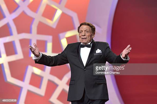 Egyptian movie and stage actor Adel Emam arrives on stage during the 14th Marrakech International Film Festival Opening Ceremony on December 5 2014...