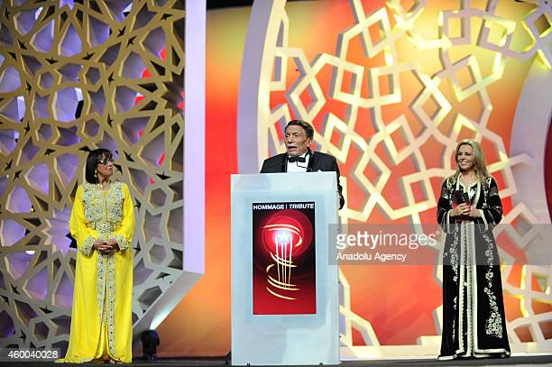 Egyptian movie and stage actor Adel Emam delivers a speech after received a tribute award during the 14th Marrakech International Film Festival...