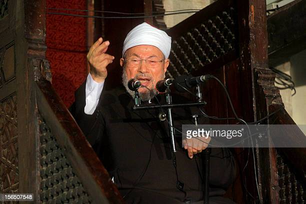 Egyptian Muslim scholar Sheikh Yusuf alQaradawi addresses Muslims at AlAzhar mosque during the weekly Friday prayer in Cairo on November 16 2012...