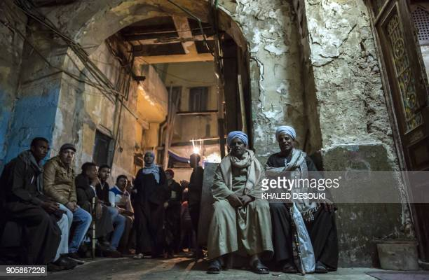 TOPSHOT Egyptian Muslim Sufis attend a ceremony to commemorate the birth of Imam Hussein the grandson of Prophet Mohammed outside alHussein mosque in...