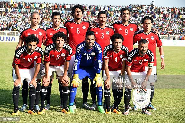 Egyptian national football team poses during the African Cup of Nations qualification match on March 25 2016 in Kaduna Egypt held Nigeria to a 1 1...