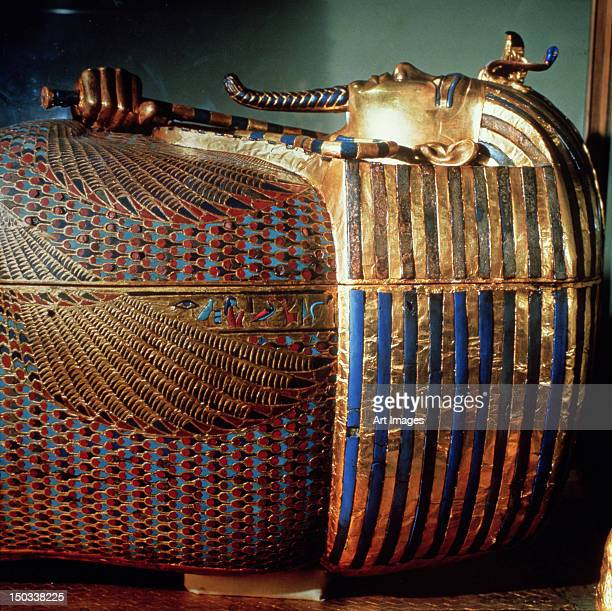 The innermost coffin of Tutankhamun, showing the king in Osiride from the tomb of Tutankhamun
