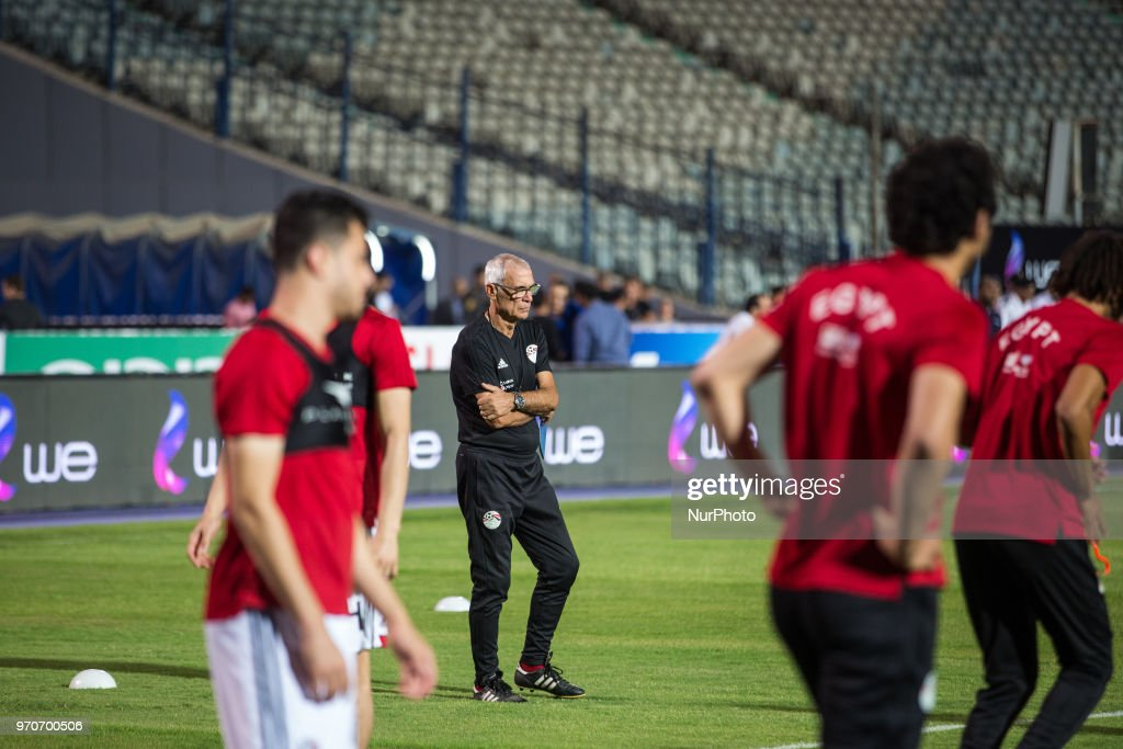 Egyptian national soccer team head coach Hector Cuper leads his team's training session at Cairo international stadium in Cairo, Egypt, 09 June 2018. The Egyptian national soccer team prepares for the FIFA World Cup 2018 taking place in Russia from 14 June to 15 July 2018.