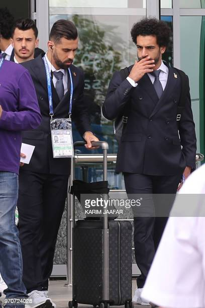 Egyptian national team football player and Liverpool's star striker Mohamed Salah and Abdallah Said arrive with his team at Grozny International...