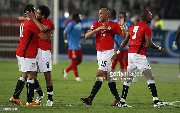 Egyptian national team players celebrate beating Congo in the 2010 World CupAfrican Nations Cup second round qualifying match in Cairo on June 1 2008...