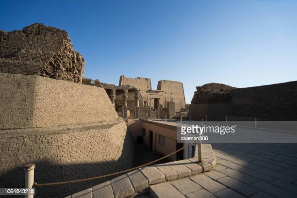 egyptian new kingdom column at edfu temple near nile river egypt - capital cities stock pictures, royalty-free photos & images