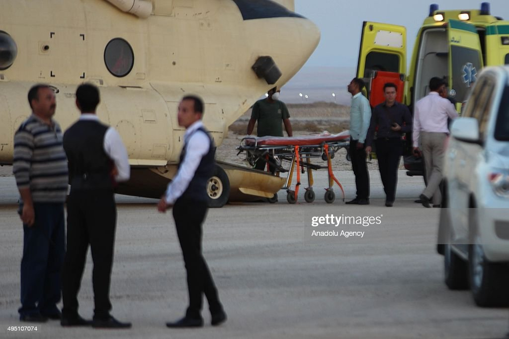 Egyptian officials receives the corpses of 34 passengers, found at crash site of Russian Airliner, at Kabret Military Base in Suez, Egypt on October 31, 2015. A Russian Airbus-321 airliner with 224 people aboard crashed in Egypt's Sinai Peninsula on Saturday, according to the Egyptian Prime Minister's office. According to Egypts Civil Aviation Authority, the plane lost contact with air-traffic controllers shortly after taking off from the Egyptian Red Sea resort city of Sharm el-Sheikh en route to St Petersburg.
